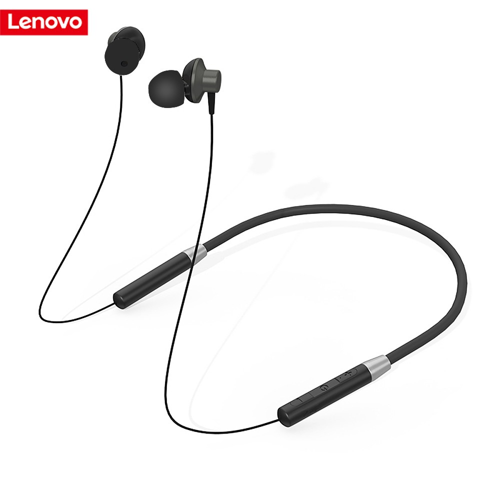 Lenovo Bluetooth Headphones IPX5 Waterproof Wireless Sport Earphones Rechargeable Sweatproof Earbuds w/Mic Noise Cancelling Headset for Exercising Running Gym 8 Hours Play Time