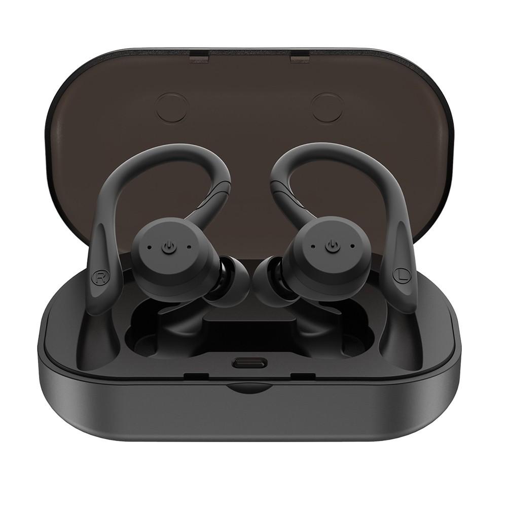 TWS Earbuds True Wireless Bluetooth 5.0 Headset with Charging Box Mic Twins Stereo Earphone Waterproof IPX7 with Ear-hook In-ear Noise Reduction