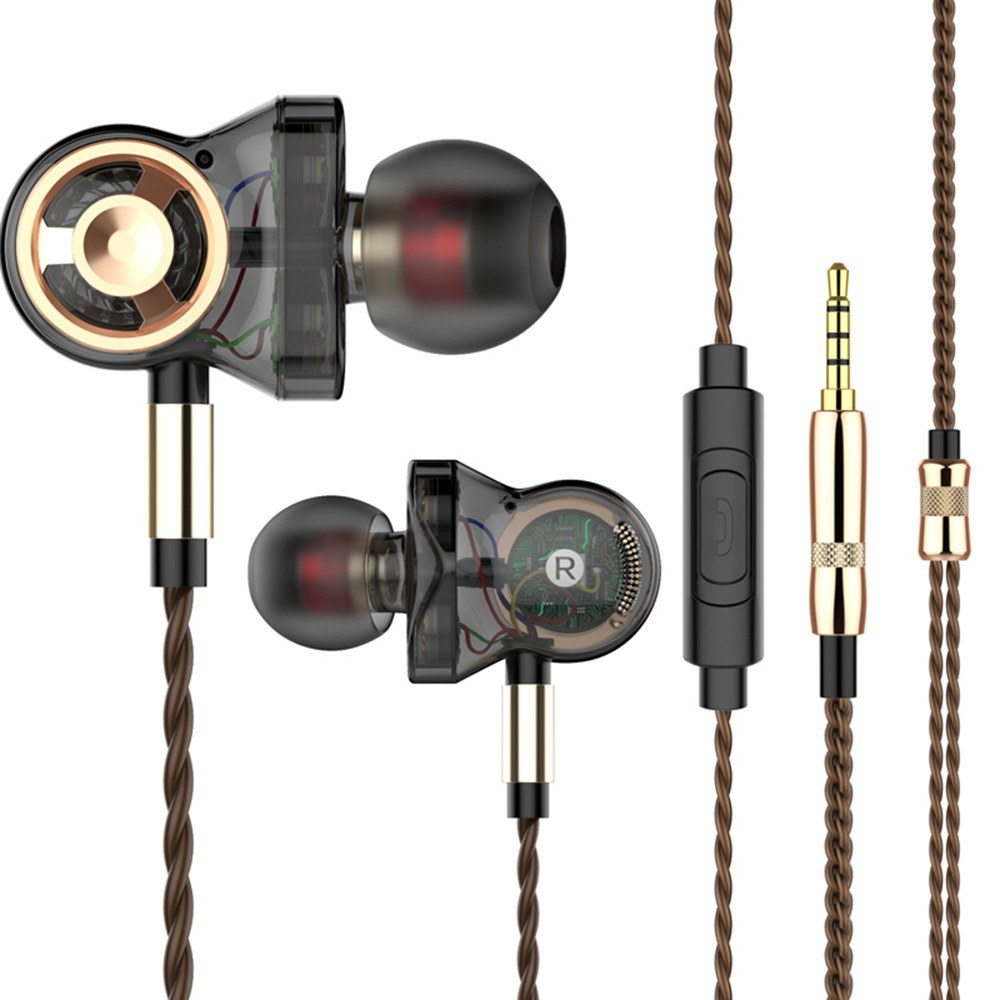 QKZ CK10 3.5mm Wired Headphones Six Moving Coil In-ear Headset Heavy Bass Music Earphones In-line Control with Mic