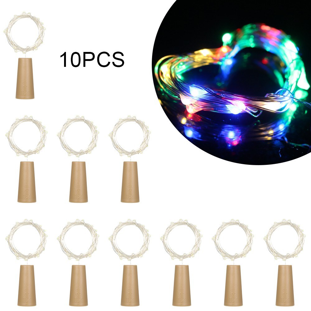 4.5V 0.9W 1.5Meters 15 LED Copper Wire Fairy String Light 10 Pack Multi-color Twistable Bendable Foldable Bottle Stopper Atmosphere Lamp IP65 Water Resistance for Christmas Xmas Holiday Festival DIY Home Party Decoration Present Gift