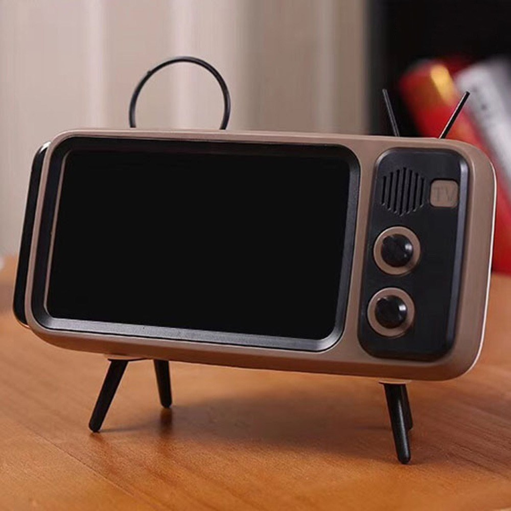 Retro TV TV Bluetooth Speaker Outside Outdoor Creative Mobile Phone Stand Small Sound Creative Subwoofer PTH800 Brown