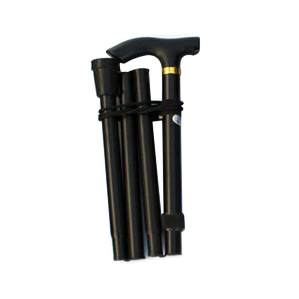 Aluminum alloy folding cane four section telescopic folding trekking poles non-slip cane elderly adjustable crutches black