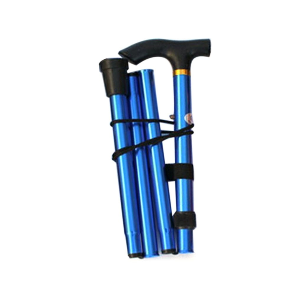 Aluminum alloy folding cane four section telescopic folding trekking poles non-slip cane elderly adjustable crutches blue
