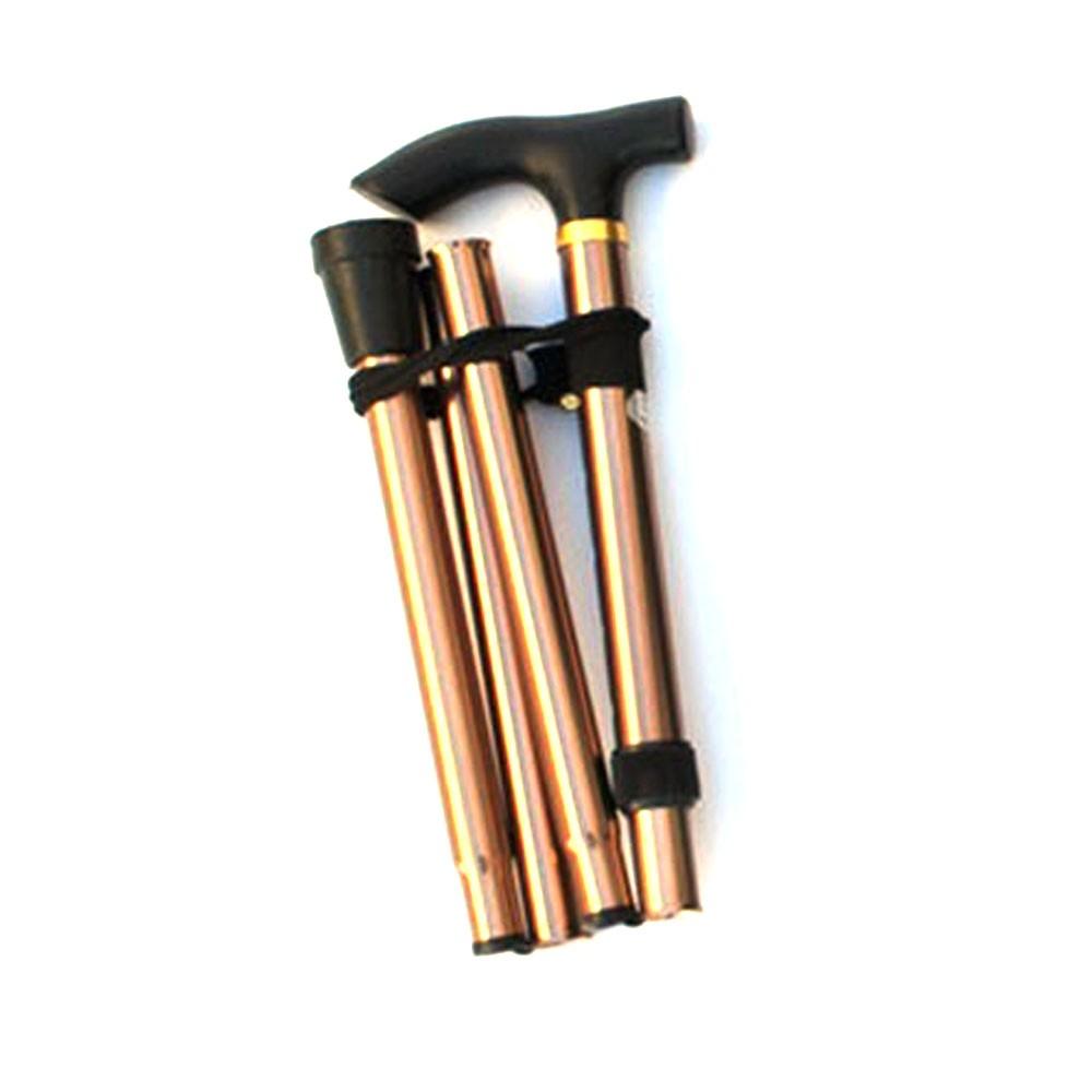 Aluminum alloy folding cane four section telescopic folding trekking poles non-slip cane elderly adjustable crutches Brown