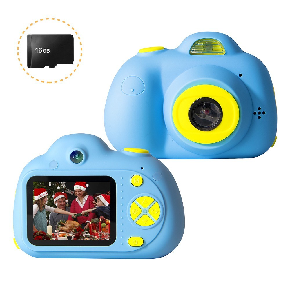 Mini Kids Digital Camera 26MP 1080P Video Camera Camcorder 2.0 Inch HD Screen Dual Camera Lens Rechargeable Shockproof with 16GB Memory Card Birthday Festival Gift for Children Boys Girls