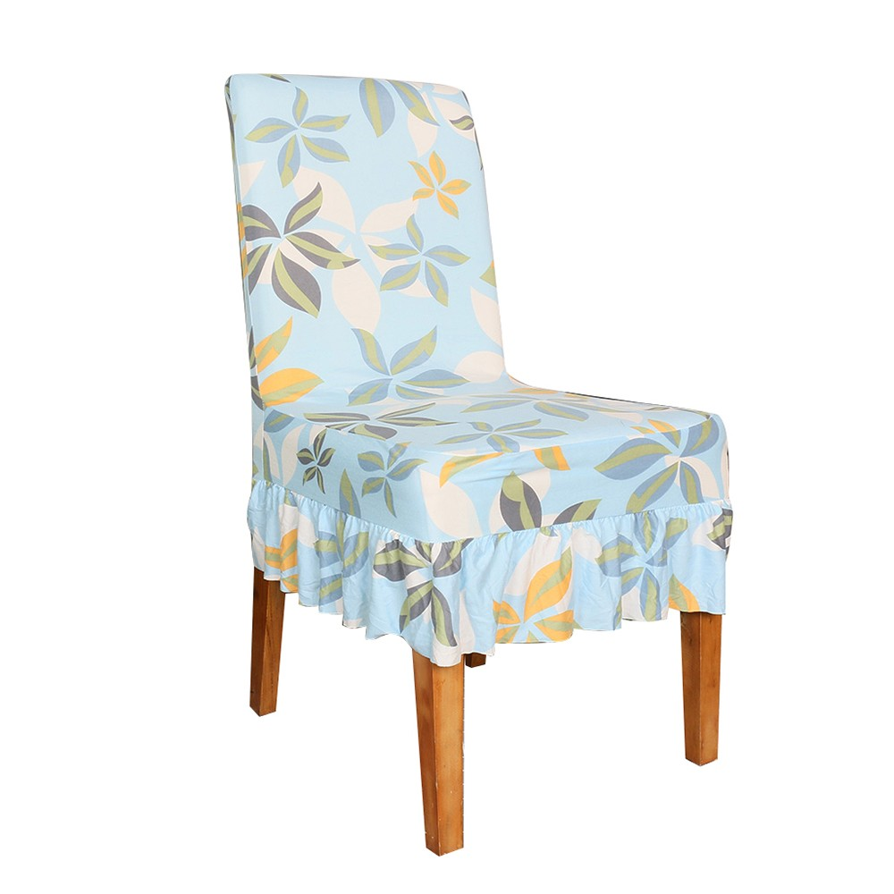 Chair Covers Print Pattern Long Skirt Dining Chair Slipcovers Stretch Anti Dust