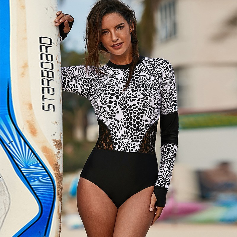 New Sexy Women Wetsuit Leopard Print Lace Hollow Out Long Sleeve Diving Suit Surfing Jacket Rashguard Swimwear White