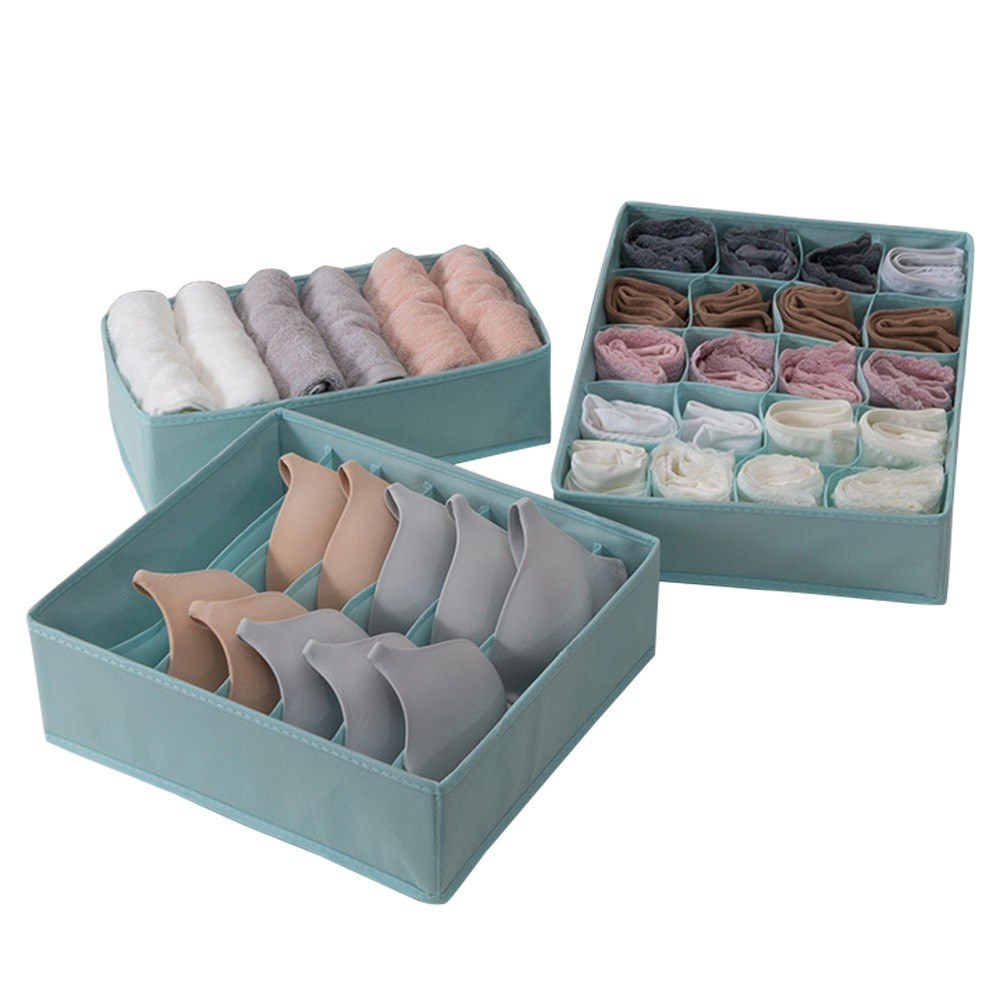 3pcs Multi-size Bra Underwear Organizer Foldable Home Storage Box Non-woven Wardrobe Drawer Closet Organizer For Scarfs Socks