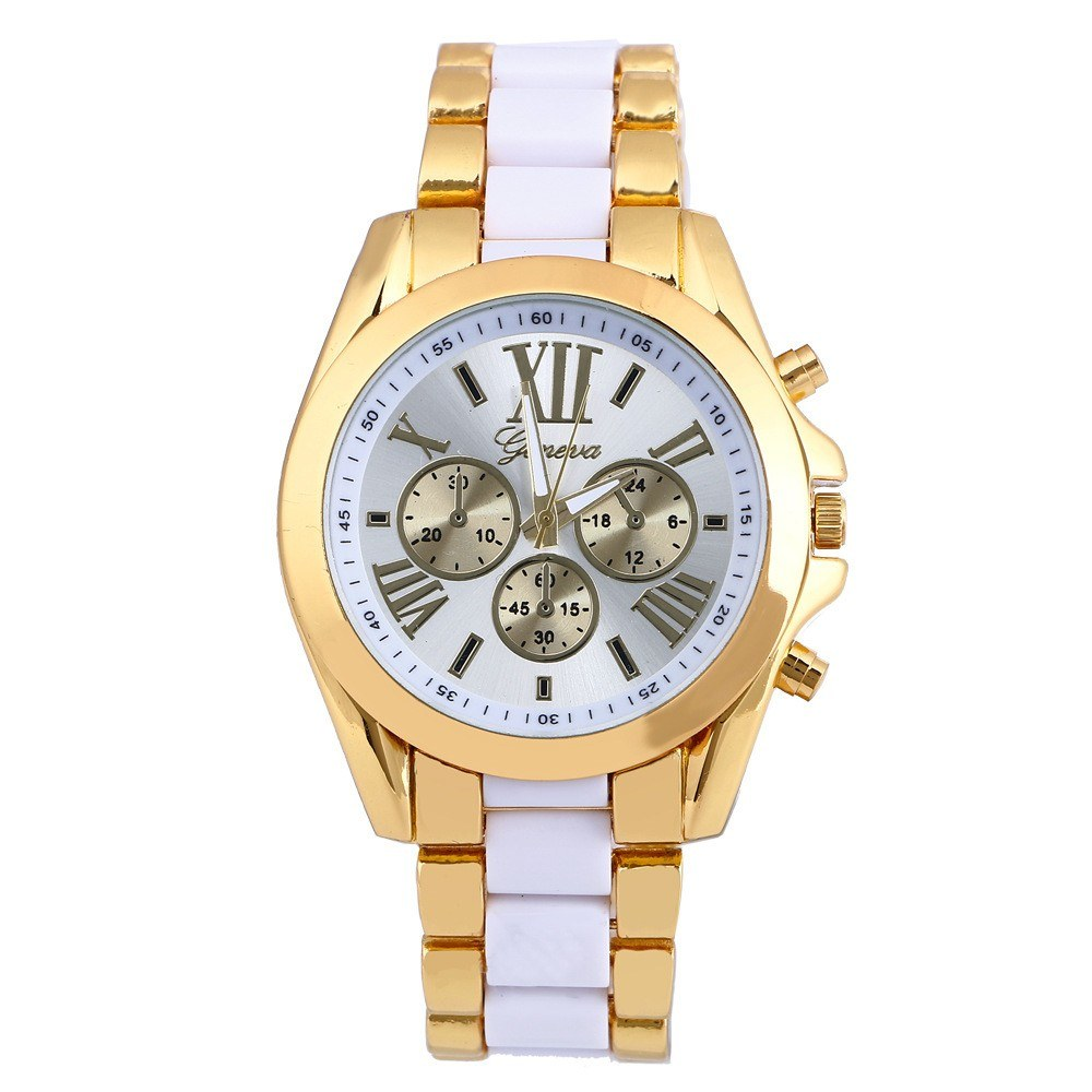 Luxury Business Two Tone Unisex Watch Vintage Retro Alloy Wristwatch for Men Women with Three Sub-dials Stainless Steel Strap Band