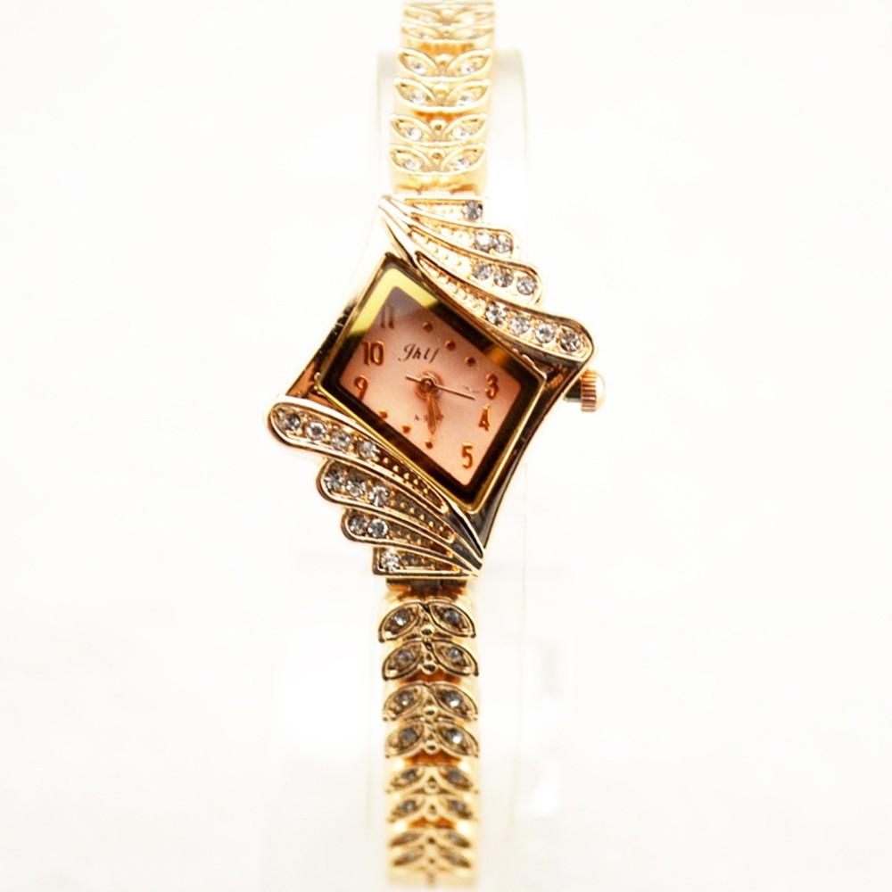 Fashionable Business Rhinestone Crystal Women Quartz Watch Rhombus Lozenge Bracelet Watch Wristwatch for Lady Students Teenager Teen Girl