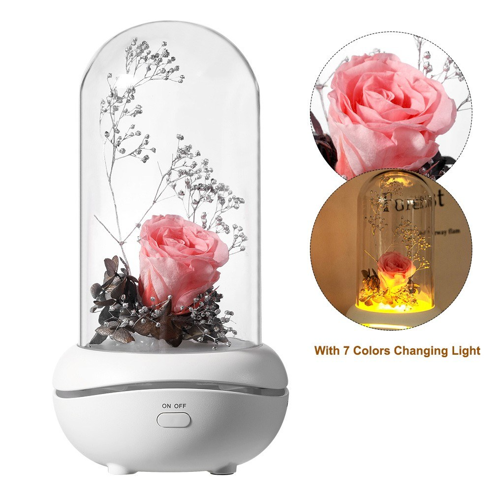 Preserved Rose Lamp Aromatherapy Mechine Aroma Essential Oil Diffuser with 7 Colors Changing Light