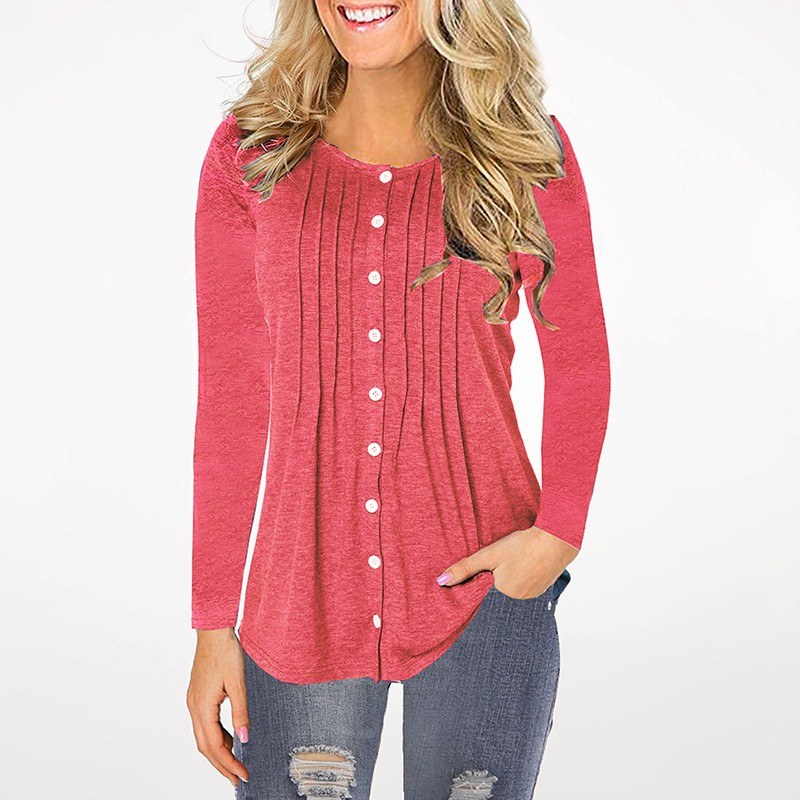 Women Plus Size Blouse Plain Color Button Fastening Pleated Round Neck Long Sleeve Casual T-shirt