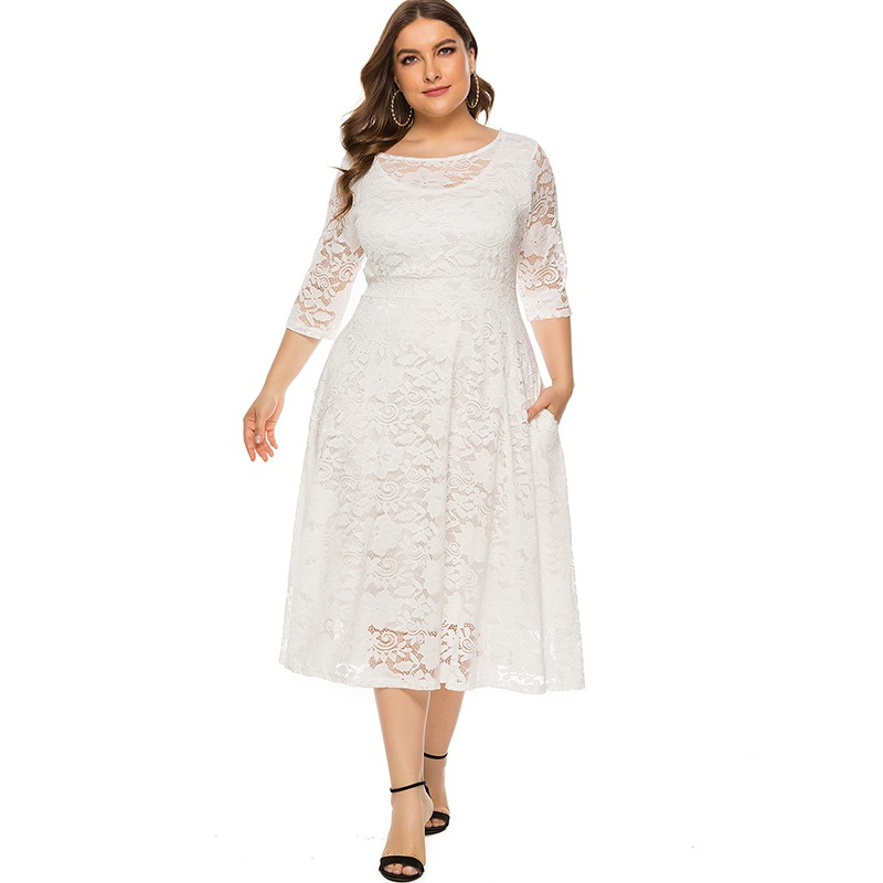 New Fashion Women Plus Size Dress Crochet Lace Hollow Out O-neck Half Sleeve Party Slim Dress Black/White