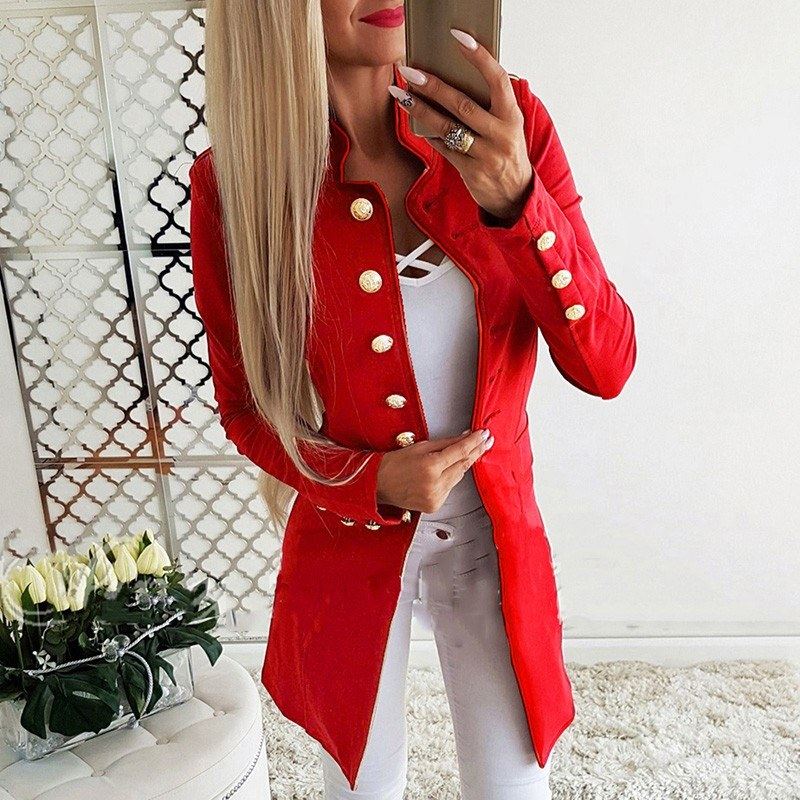 Fashion Women Suit Jacket Solid Button Front Long Sleeve OL Work Ladies Casual Slim Coat Outerwear