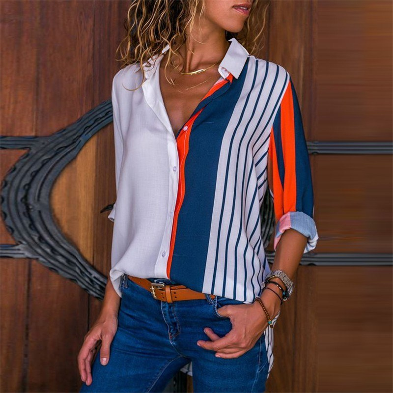 Women Plus Size Chiffon Shirts Blouse Striped Contrast Color Block Button Down Turn Down Collar Long Sleeves Casual Tops