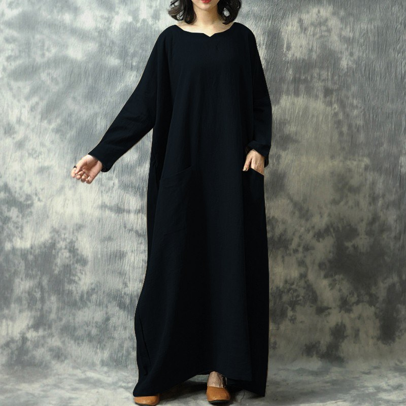 Vintage Women Loose Long Dress Batwing Long Sleeves Pockets Solid Baggy Robe Plus Size Casual Maxi Dress