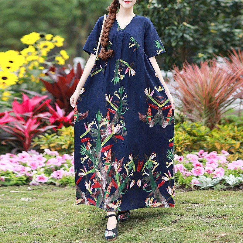 Women Vintage Loose Dress Boho Contrast Print Short Sleeves Oversized Robe Maxi Long Dress