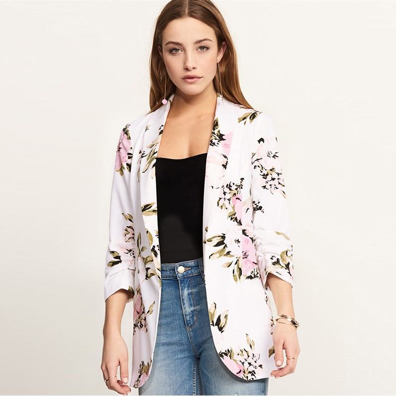 Fashion Women Floral Print Suit Jacket Blazers Open Front Long Sleeve OL Work Casual Coat Outerwear White