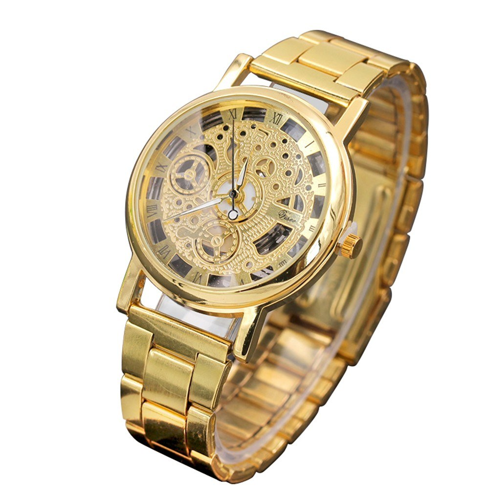 Hollow quartz watch men's fashion Korean men's non-mechanical watches cross-border gift watch manufacturers wholesale Gold