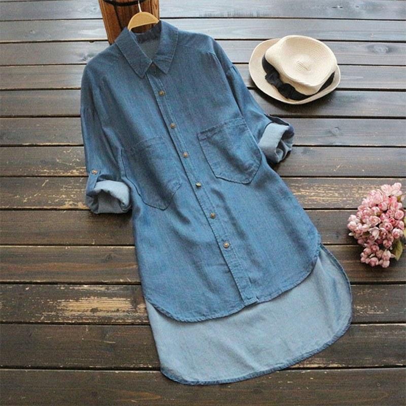 Women Plus Size Denim Blouse Turn Down Collar Rolled Long Sleeve Pockets Low High Irregular Hemline Loose Tops
