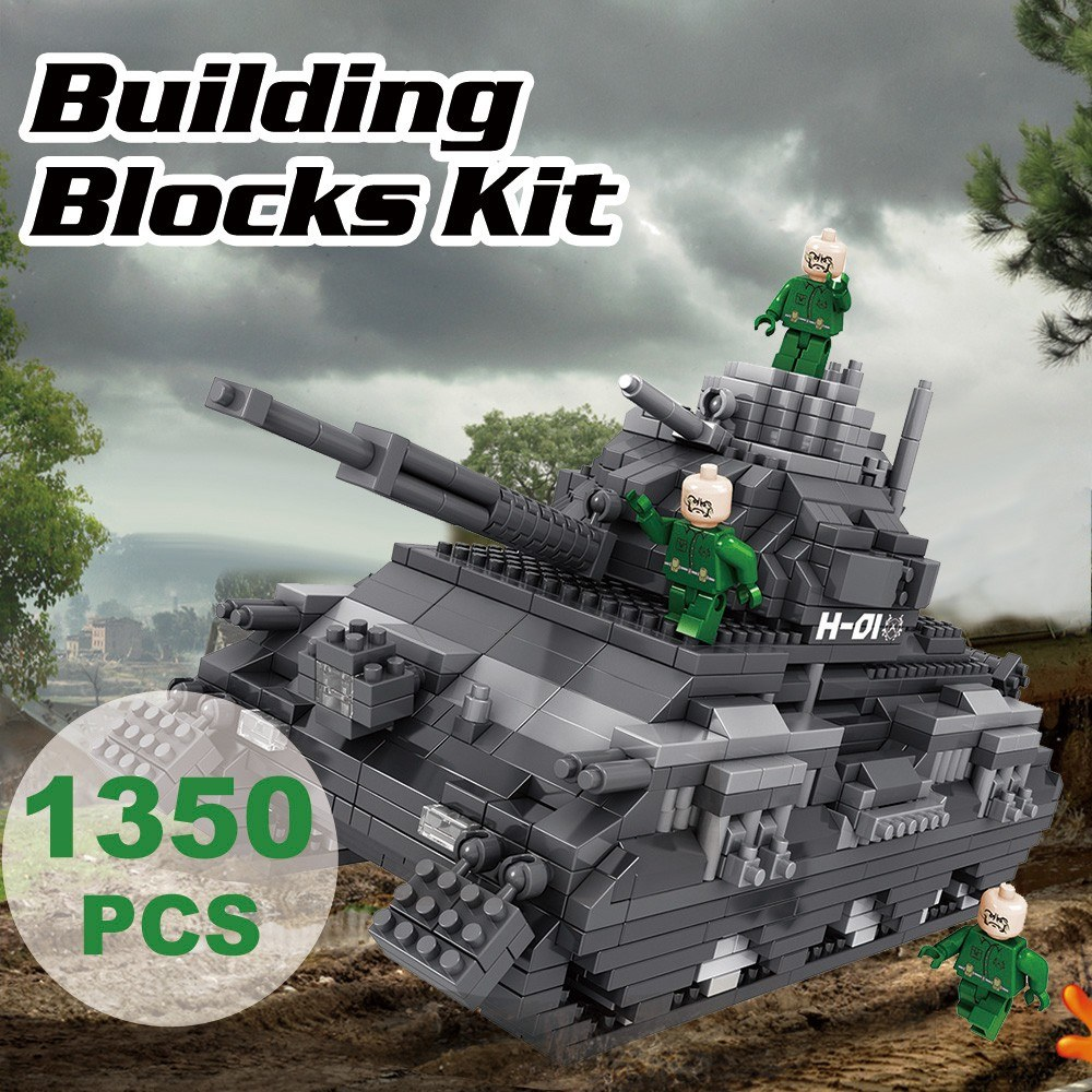 9910-2 Military Model Tank Atomic Building Blocks Kit 1350pcs Gift Toy for Kids
