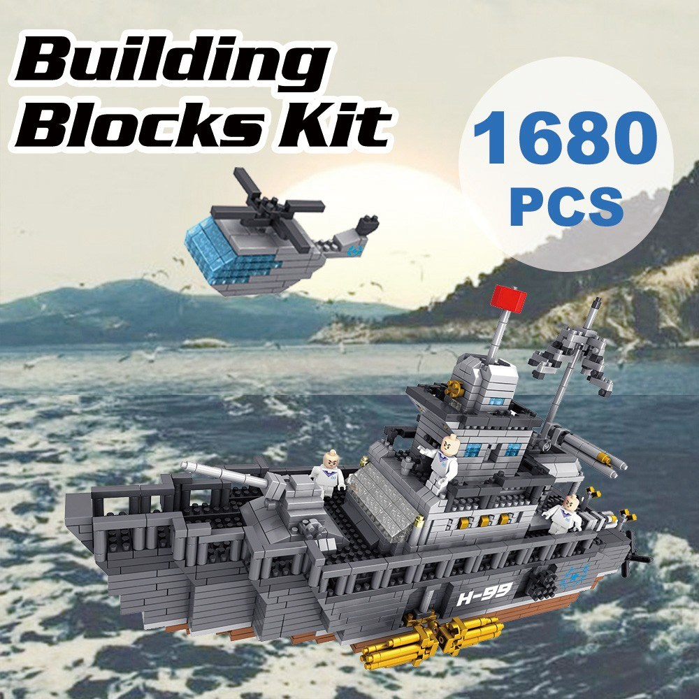 9910-1 Military Model Aircraft Carrier Atomic Building Blocks Kit 1680pcs Gift Toy for Kids