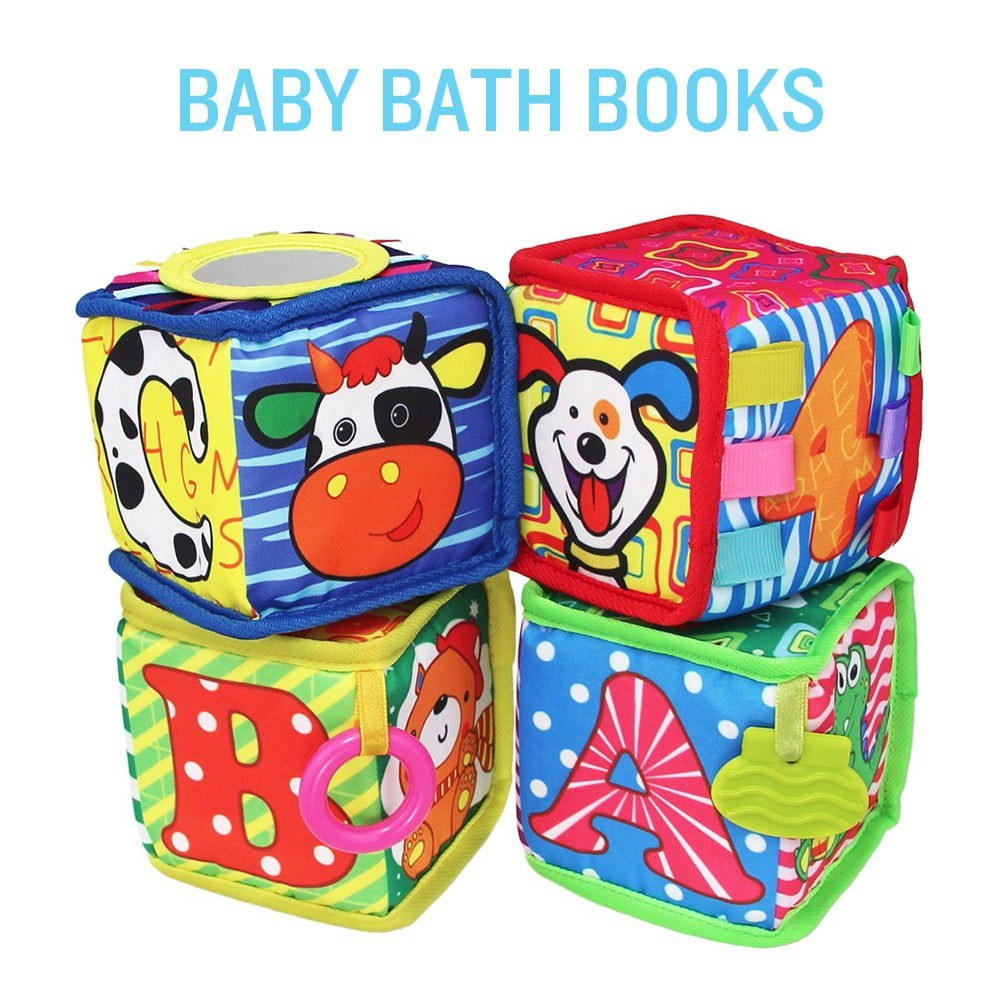 Baby Bath Books Nontoxic Fabric Soft Baby Cloth Books Early Education Toys Waterproof Baby Books for Toddler Infants Perfect Shower Toys Kids Bath Toys Best Gift