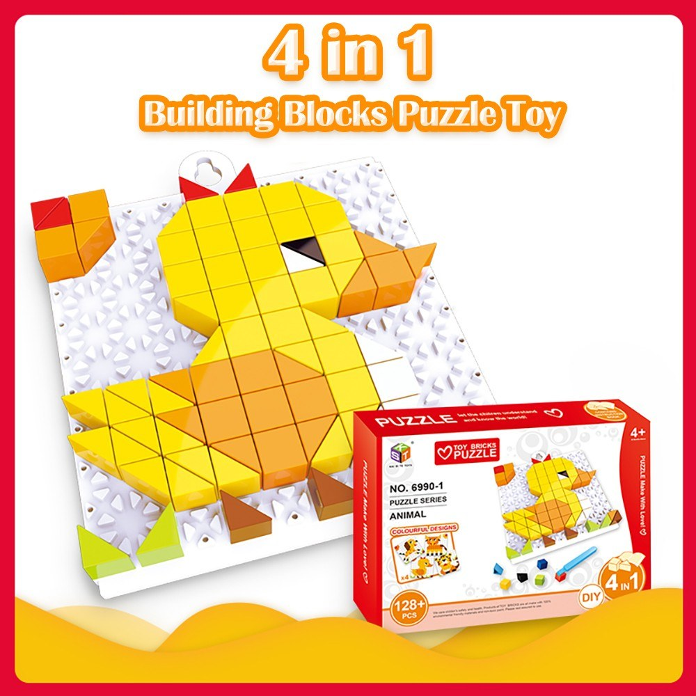4 in 1 Bricks Puzzle Toy Building Blocks for Toddlers Educational Toys for Kids Animal Models Bricks Toys Gift for Kids