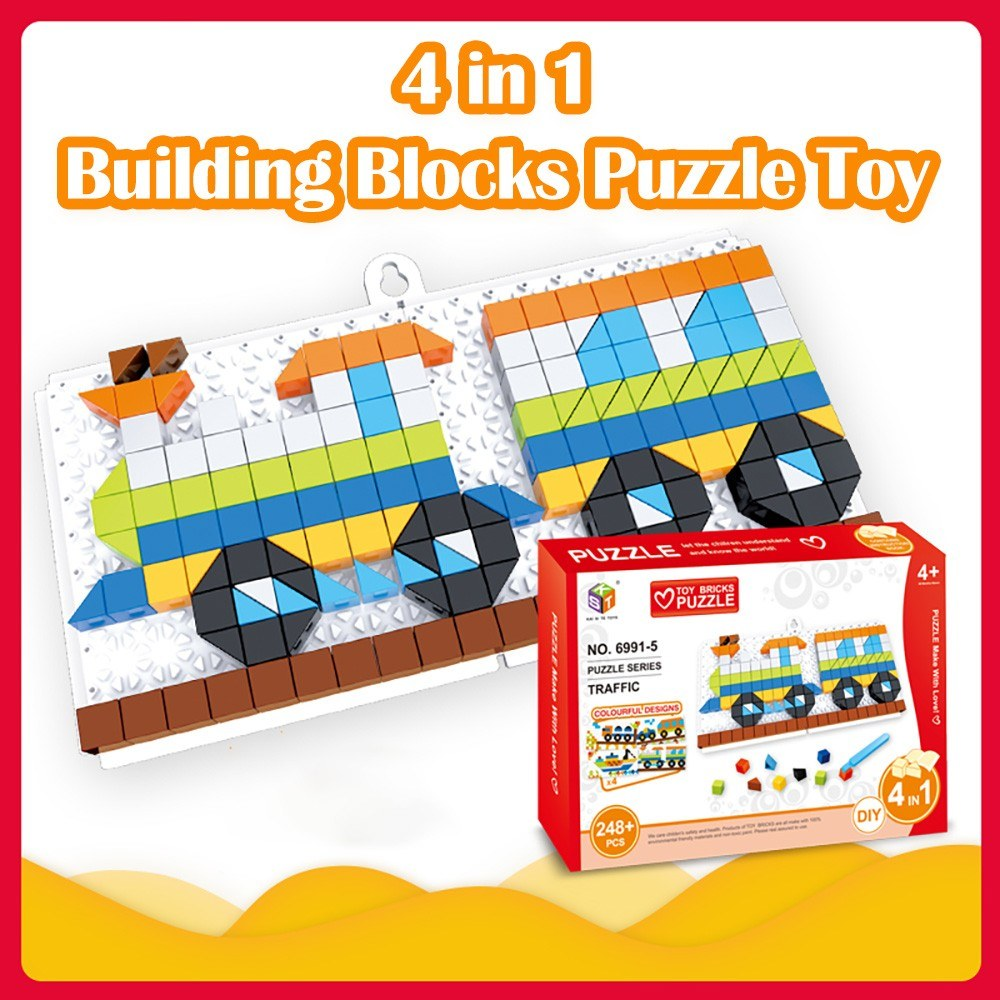 4 in 1 Bricks Puzzle Toy Building Blocks for Toddlers Educational Toys for Kids Vehicles Models Bricks Toys Gift for Kids