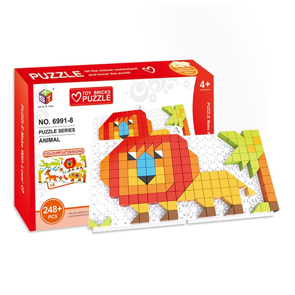 4 in 1 Bricks Puzzle Toy Building Blocks for Toddlers Educational Toys for Kids Terrestrial Animals Models Bricks Toys Gift for Kids