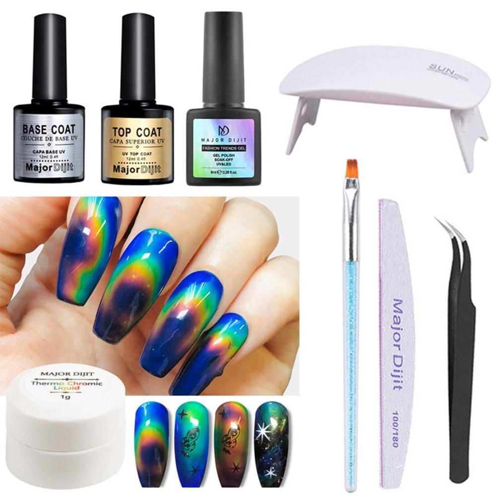 Color-changing Gel Polish Nail Art Set Thermochromic Liquid Polish UV Lamp Painting Brush Nail File