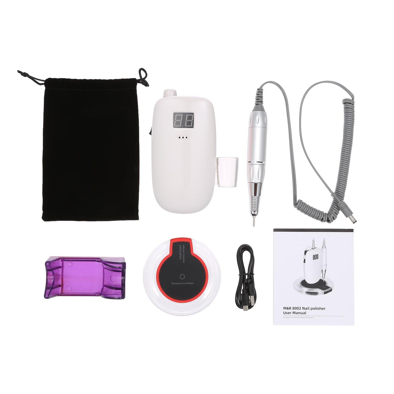 Nail Drill Machine Kit Electric Nail Polisher Set Cordless Portable Wireless Charging Manicure Set Nail Beauty Device
