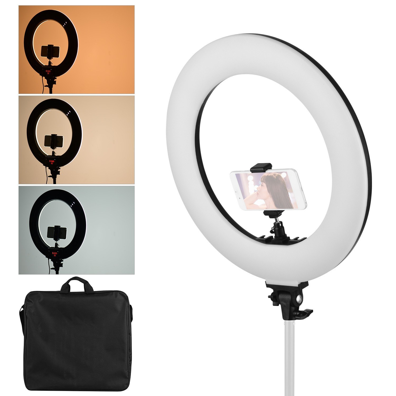 18 Inch LED Ring Light Fill-in Lamp 60W Dimmable Brightness Adjustable 3000-6000K Color Temperature Lighting with Ballhead Cell Phone Holders for Photography Shooting Makeup Vlogging