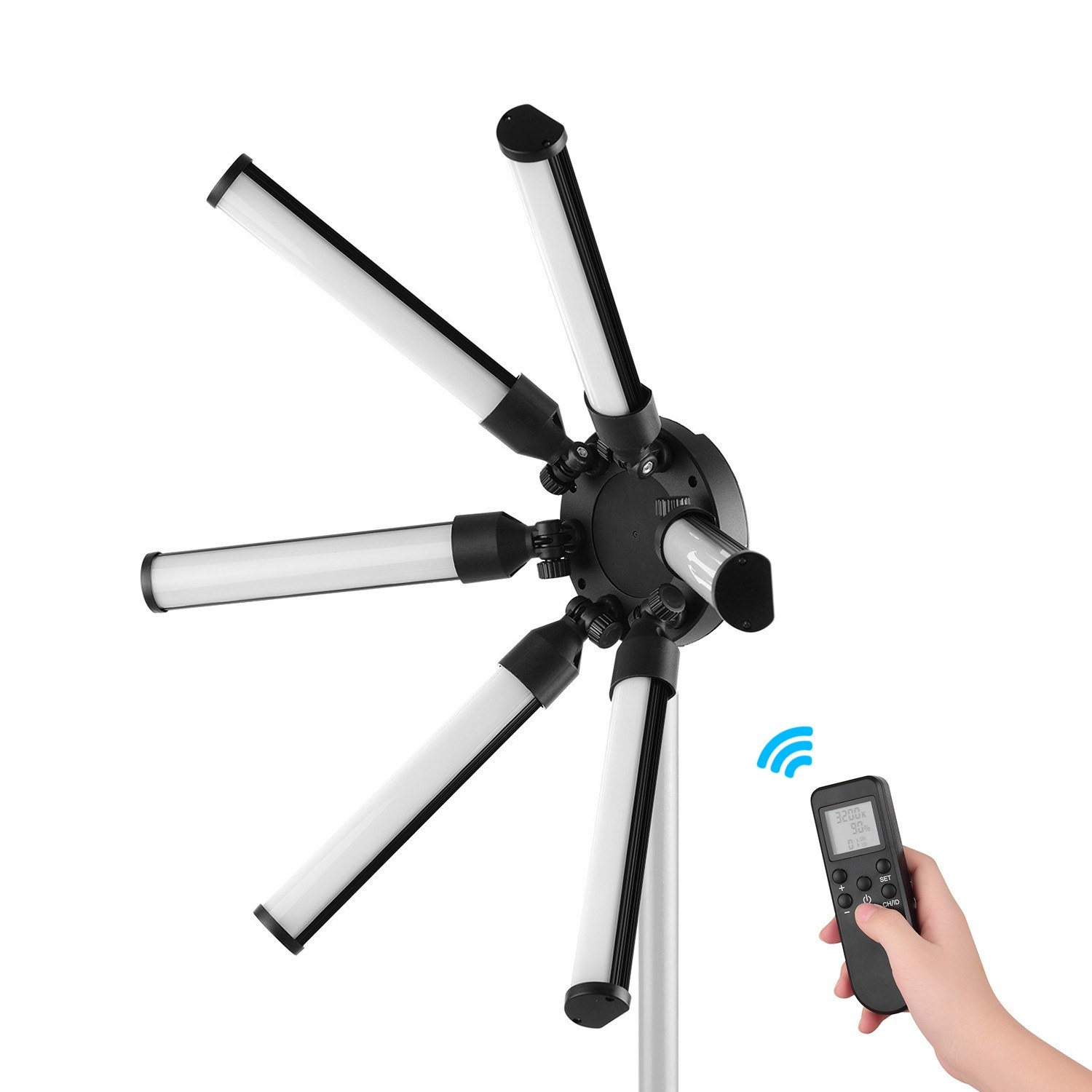 TL-900S Digital Photography Fill Light Star-Shaped Circle Lights 6 PCS LED Tubes 60W CRI 97 3200K-5600K Stepless Dimming with 2.4G Remote Control and Mini Ball Head Suit for Video Live Makeup Outdoor Interview Studio Lighting