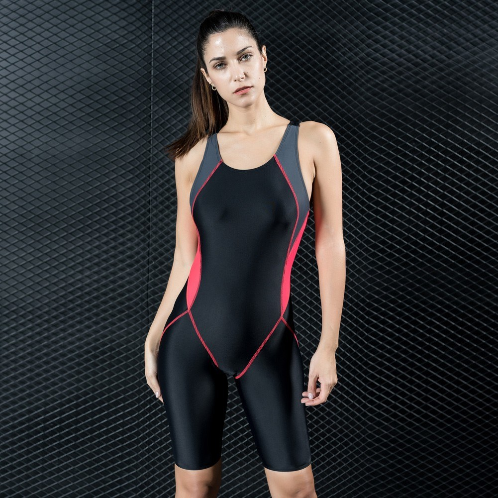 Fashion Women Sports One Piece Swimsuit Full Brief Knee Professional Swimwear Monokini Bathing Suit Slimming Bodysuit