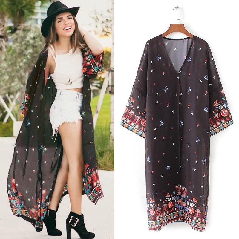 Boho Women Chiffon Beach Kimono Floral Print Long Sleeve Loose Thin Gown Bikini Cover Up Cardigan