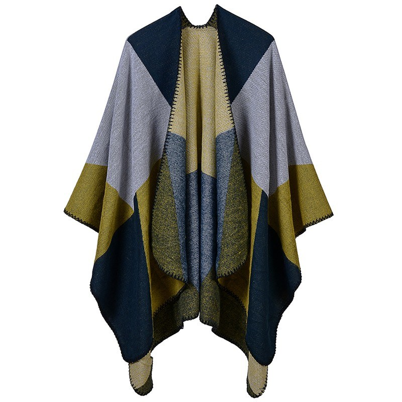 Winter Women Loose Outerwear Coat Splice Oversized Knitted Cashmere Poncho Cape Shawl Cardigan Sweater