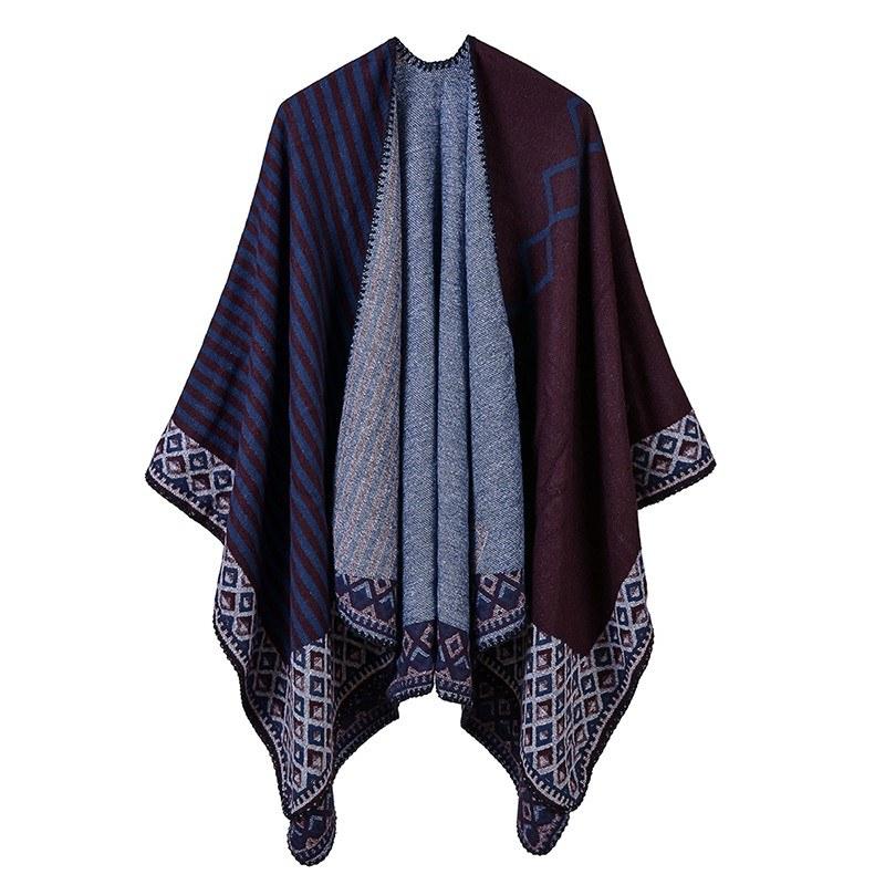 Women Poncho Scarf Cardigan Striped Vintage Warm Cape Shawl Long Scarves Pashmina Outwear