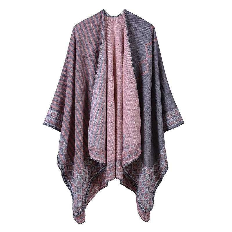 Women Poncho Scarf Cardigan Striped Vintage Warm Cape Shawl Long Scarves Pashmina Outwear