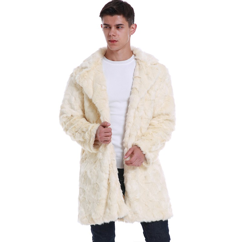 Winter Men Faux Fur Coat Notched Collar Long Sleeve Open Front Thicken Jacket Parka Outerwear Overcoat Beige