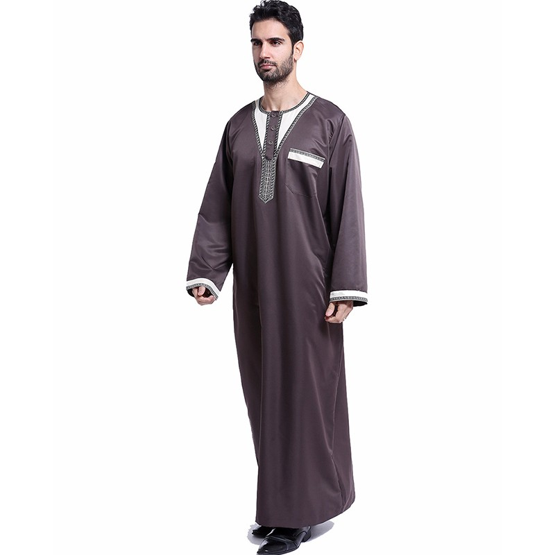 Muslim Men Robes Long Sleeves Embroidered Plus Size Arab Islamic Kaftan Abaya Thawb Ramadan Prayer Clothing