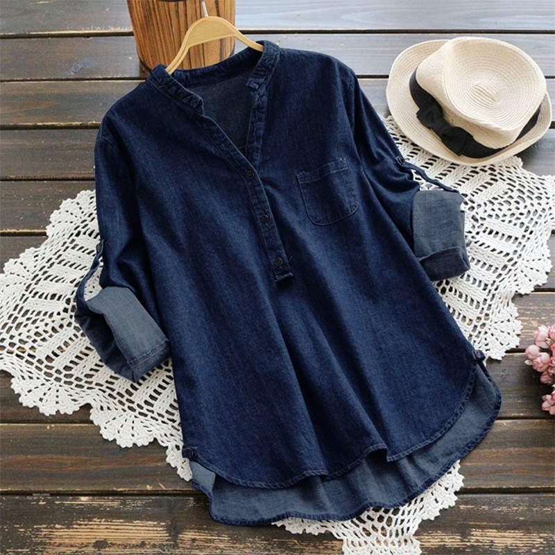 New Women Denim Blouse Button V Neck Long Roll-up Sleeve Casual Loose Shirt Party Top Blue/Dark Blue