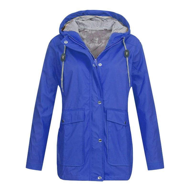 Fashion Women Hooded Jacket Waterproof Solid Long Sleeve Zip Trench Coat Rain Outerwear