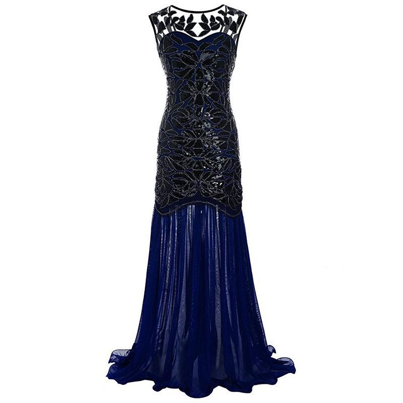 Women Sequined Gown Dress Sleeveless Pearls Mesh Ruffles Hem Cocktail Party Ball Dress