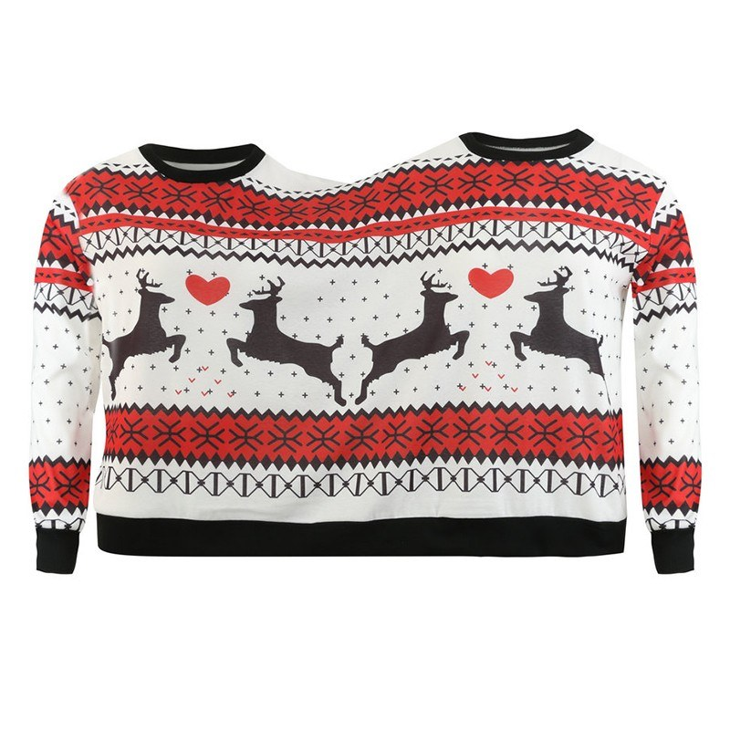 New Fashion Double Santa Christmas Jumper Sweatshirt Twin Top Printed Round Neck Long Sleeve Couple One Piece Blouse