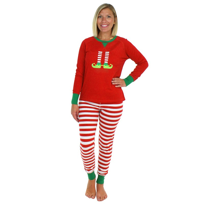 Christmas Family Women Pajamas Sets Long Sleeve T-shirt Striped Pants Xmas Sleepwear Nightwear Outfits Red