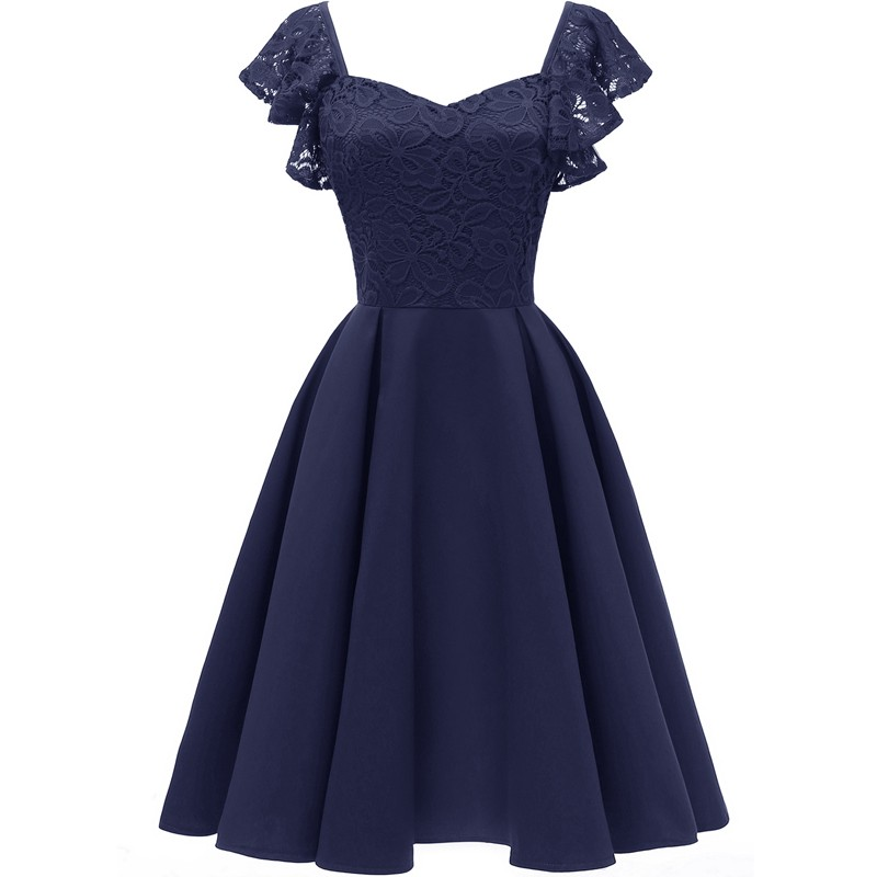 Elegant 1950s Women Lace Splice Dress V Neck Sleeveless Ruffles Back Zipper High Waist Vintage Midi A-Line Dress