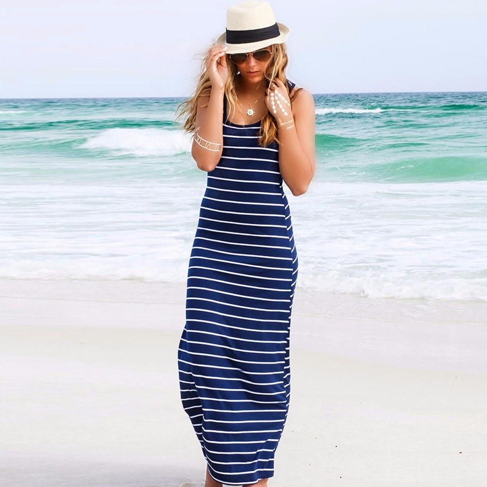 New Fashion Women Maxi Striped Dress O Neck Sleeveless Summer Beach Long Dress