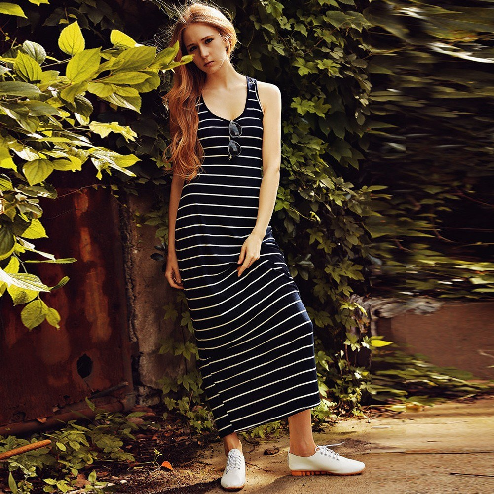 New Fashion Women Maxi Striped Dress O Neck Sleeveless Summer Beach Long Dress