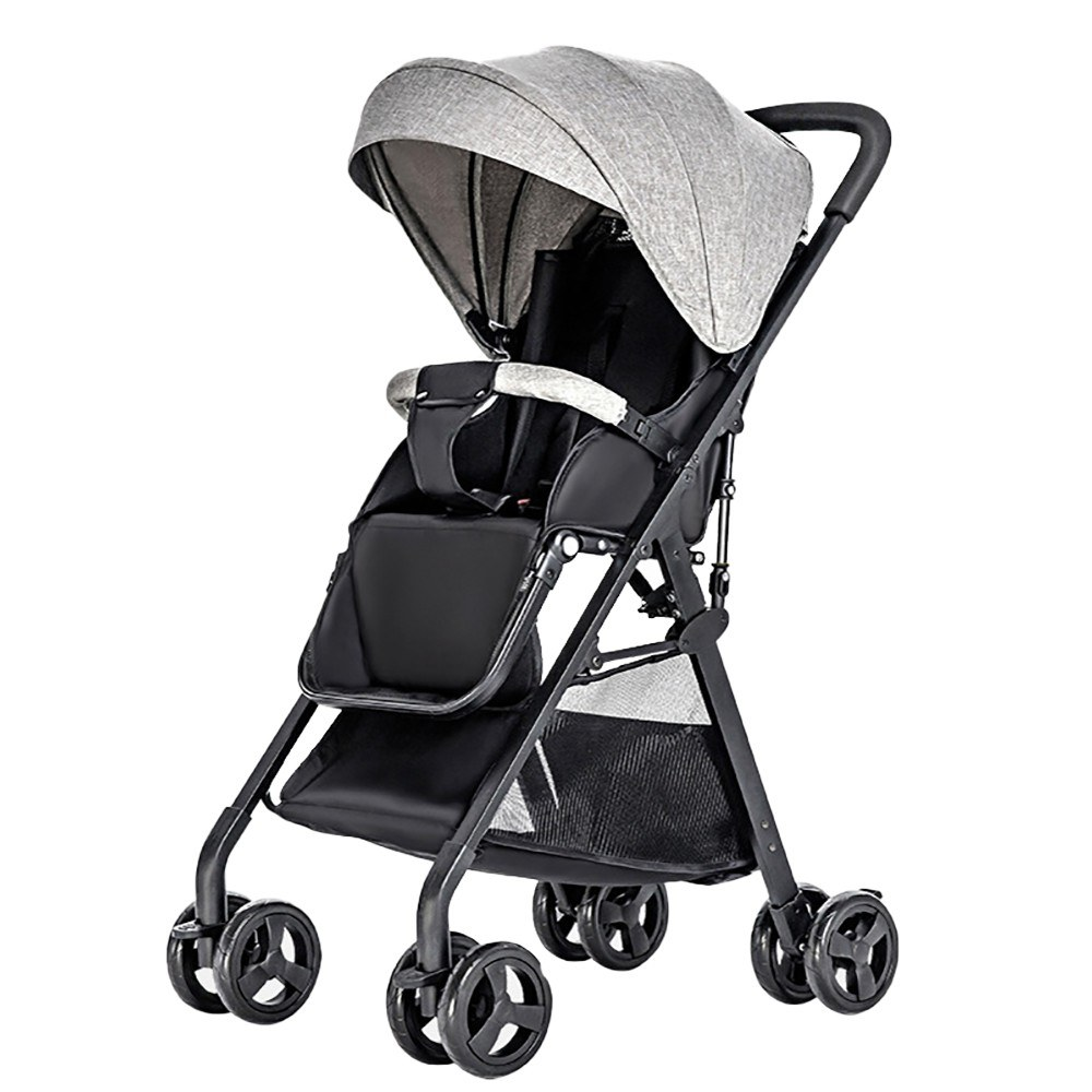 Baby Stroller High View Pram One Step Fold Lightweight Convertible Baby Carriage with Multi-Positon Reclining Seat Extended Canopy for Infant Toddler Dark grey